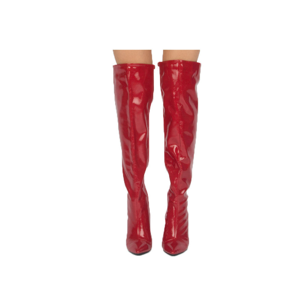 Milia-127X Red Over The Knee Pointed Boot