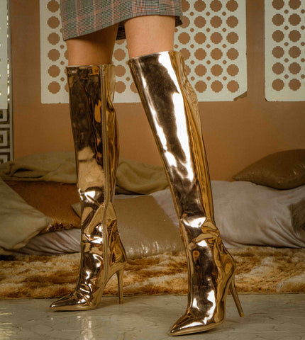 Milia-127X Rose Gold Metallic Over The Knee Pointed Boot
