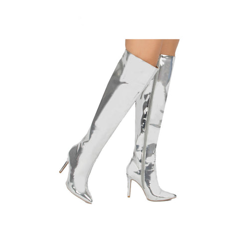 600c62706 Qupid Women Shoes Milia-127X Silver Metallic Over The Knee Pointed Boot