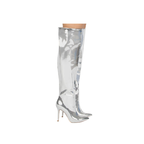 Qupid Women Shoes Milia 127x Silver Metallic Over The Knee