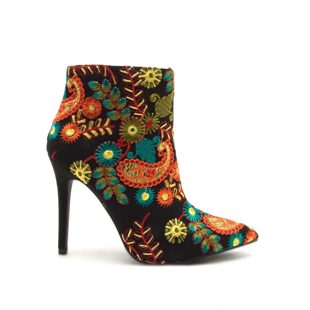 Milia-61X Black Multi Embroidered Pointed Bootie