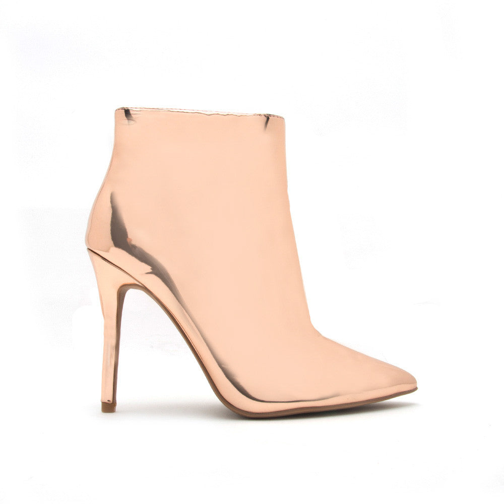 Milia-61 Rose Gold Metallic Stiletto Bootie