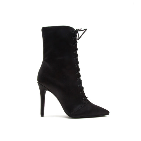 Milia-63 Black Lycra Pointed Ankle Booties