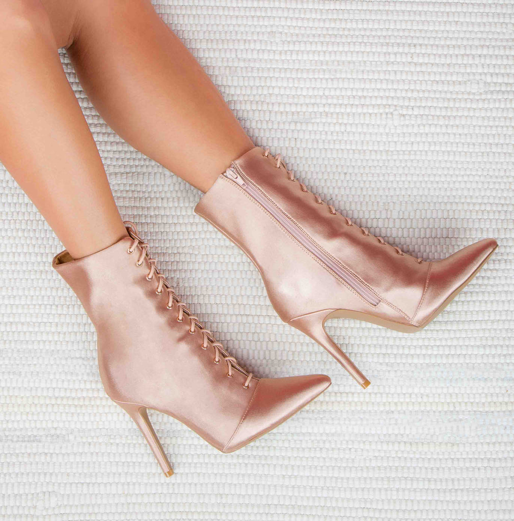 Milia-63 Champagne Lycra Pointed Ankle Booties