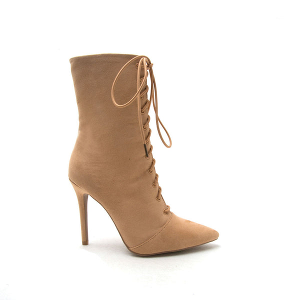 Milia-63 Toffee Pointed Ankle Booties