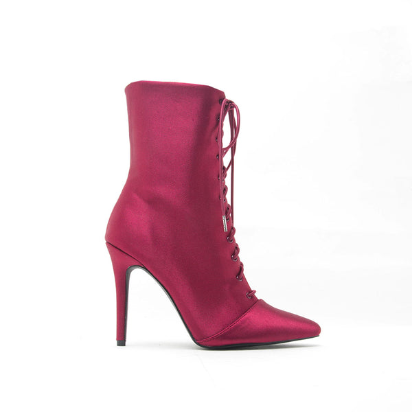 Milia-63 Wine Lycra Pointed Ankle Booties