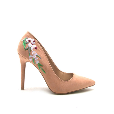 Milia-83 Blush Embroidered Pointed Pump