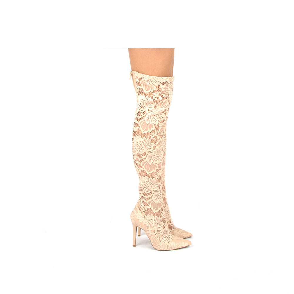 Milia-91X Nude Lace Over the Knee Boot