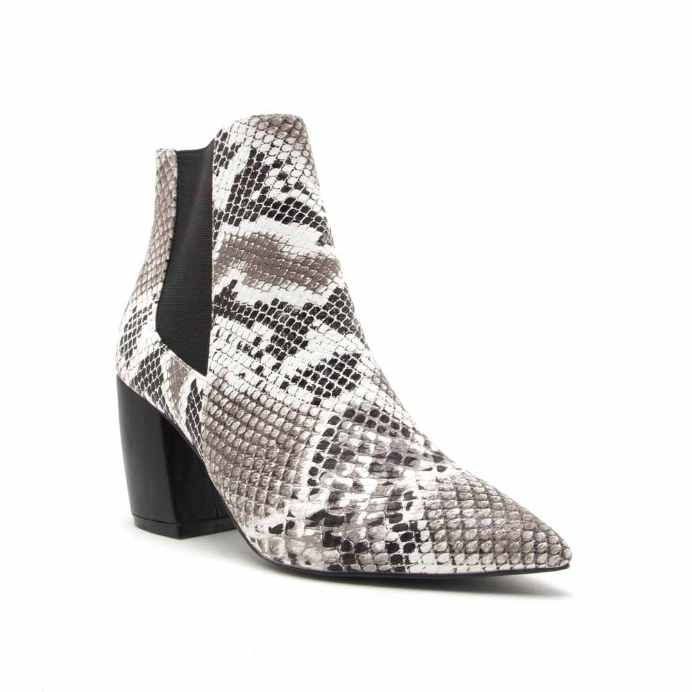 Milkway-07A Black White Snake Chelsea Bootie
