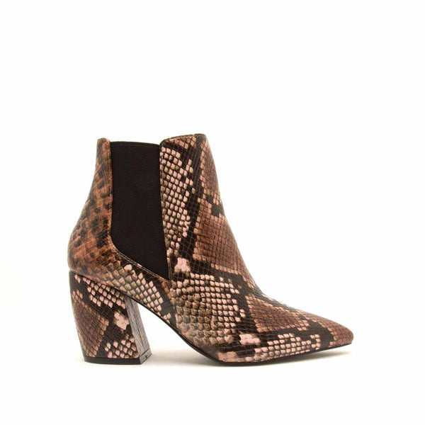 Milkway-07A Light Brown Multi Snake Chelsea Bootie
