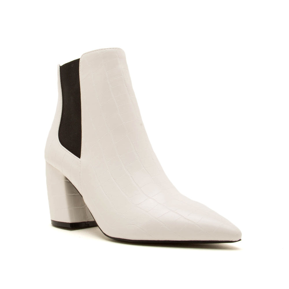 Milkway-07A White Crocodile Chelsea Bootie