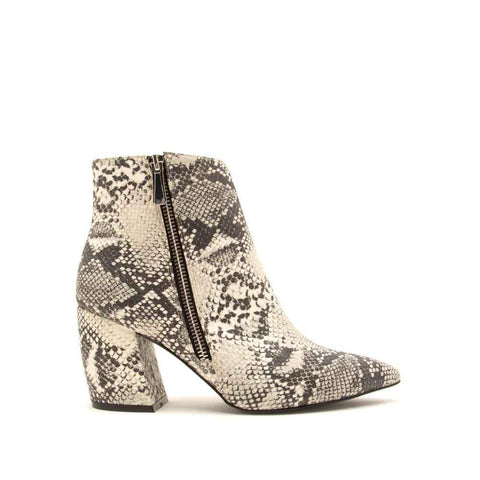 Milkway-22 Stone Black Snake Side Zipper On Booties