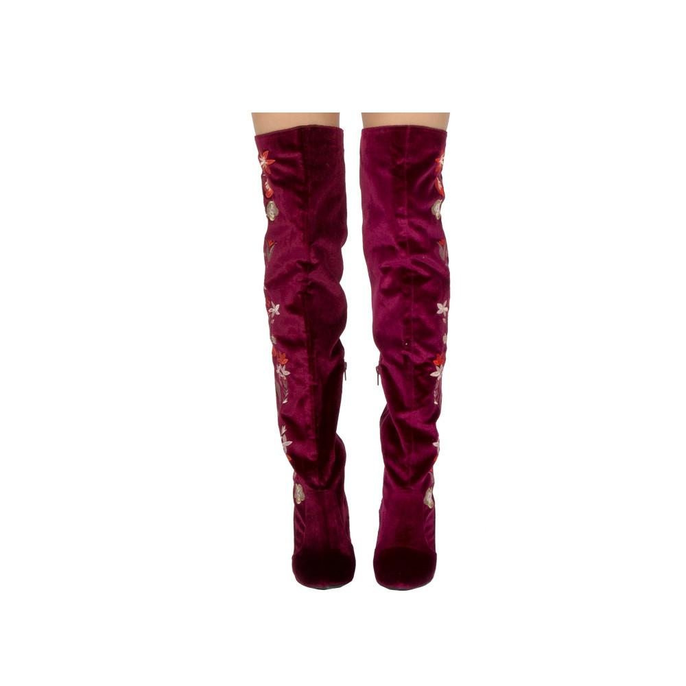Miss-10 Garnet Velvet Embroidered Over The Knee Boot