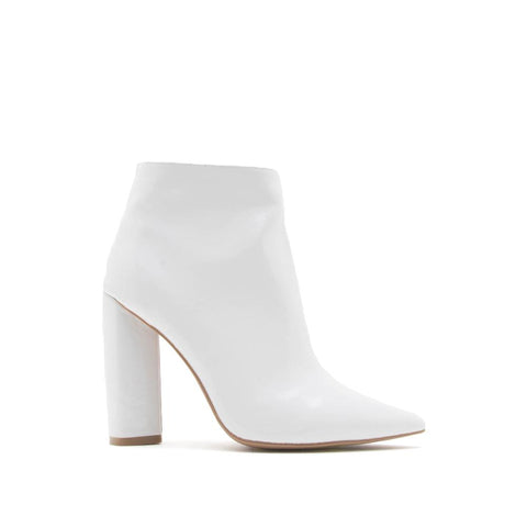 Miss-14 White Shiny Patent Bootie
