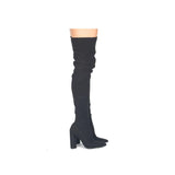 Miss-15X Black Stretch Thigh High Boots