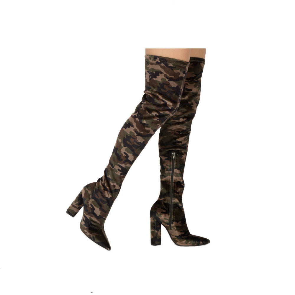 Miss-15X Khaki Camo Velvet Thigh High Boots