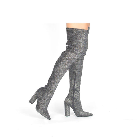 Miss-15X Pewter Stretch Lurex Thigh High Boots