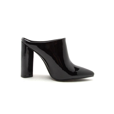 Miss-40 Black Patent Leather Mules