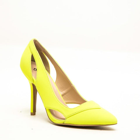 Qupid MIXI-59 Neon Yellow 1/4 View