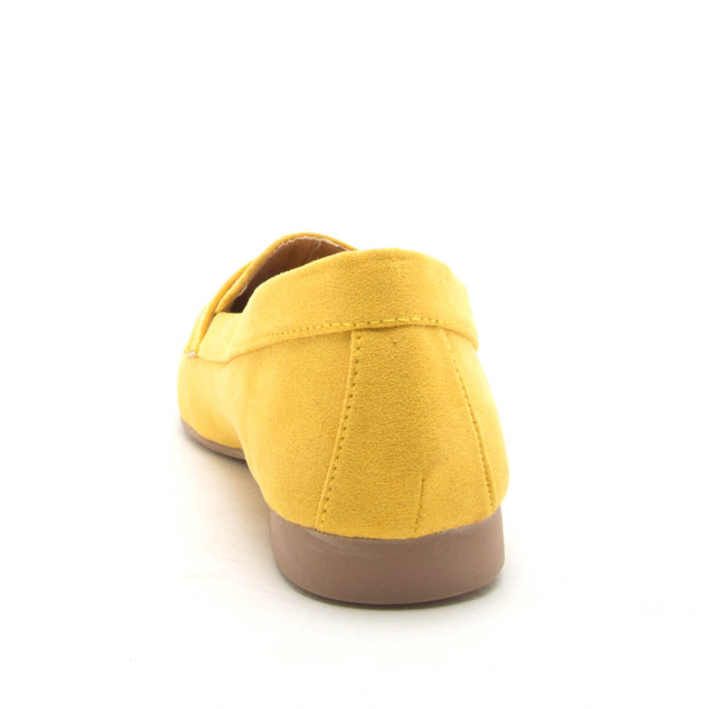 Moby-47X Yellow Studded Moccasin Ballerinas