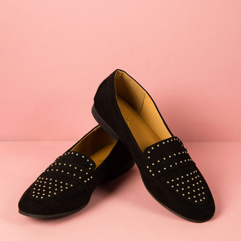 Moby-47X Black Studded Moccasin Ballerinas