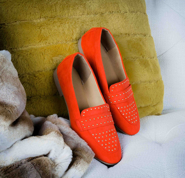 Moby-47X Blood Orange Studded Moccasin Ballerinas