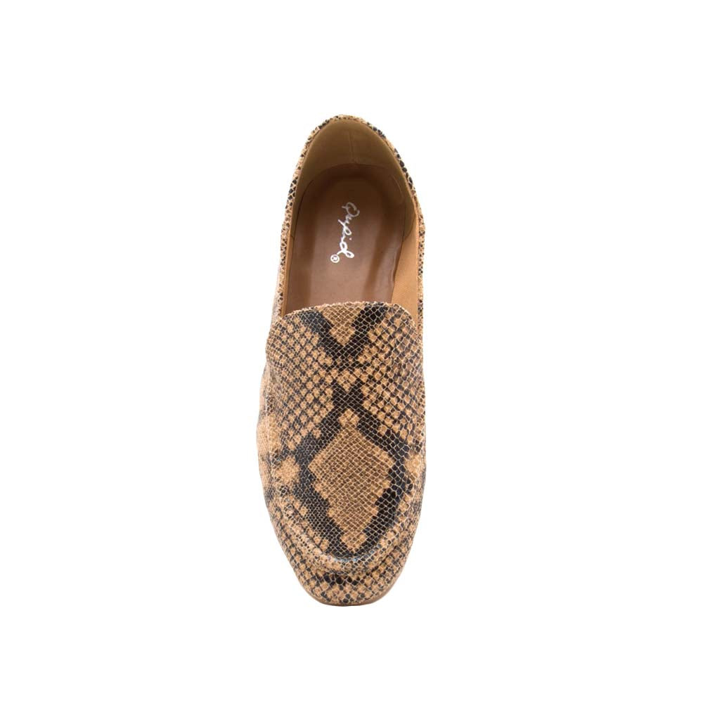 Moby-52X Tan Multi Snake Loafer Ballerinas