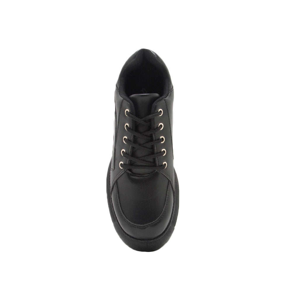 Moffe-02 Black Lace Up Sneakers