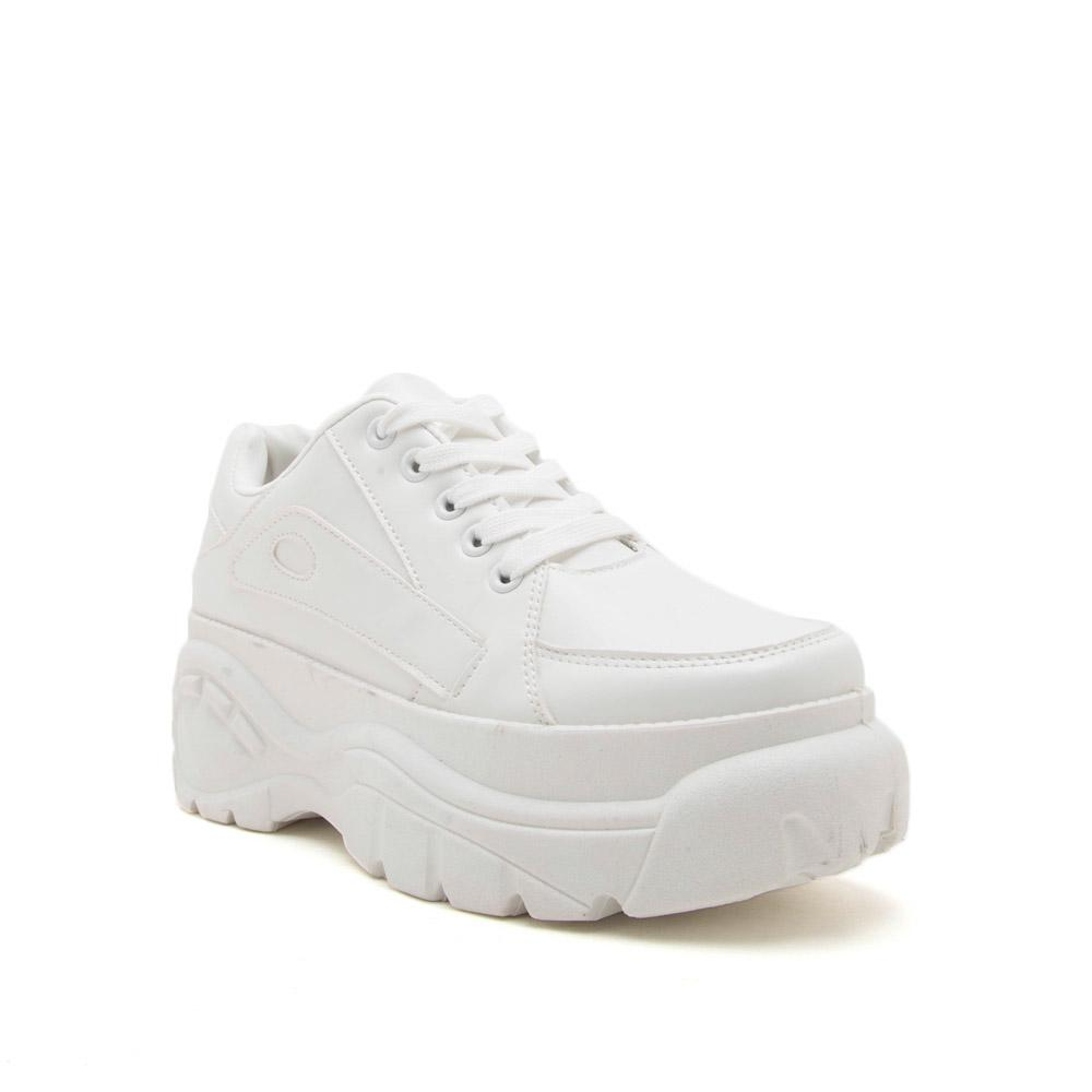 Moffe-02 White Lace Up Sneakers