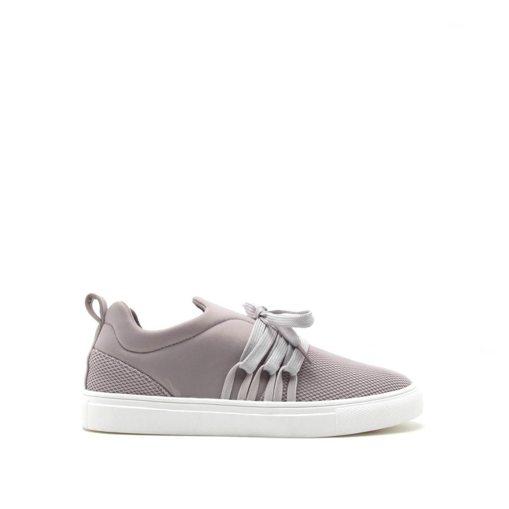 Moira-12B Light Grey Lace Up Sneaker