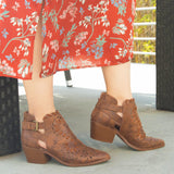 Montana-07 Cognac Perforated Bootie