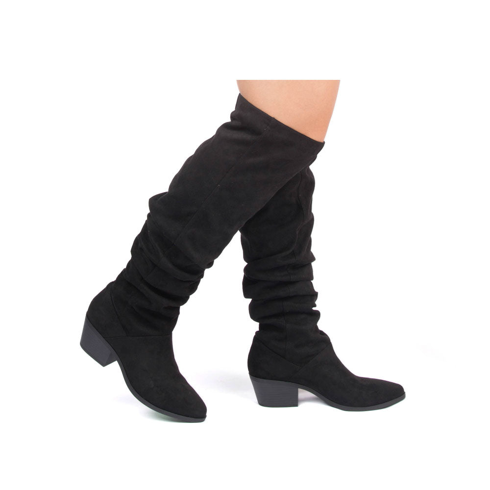 0e7d3484bbc Qupid Women Shoes Montana-24 Black Slouchy Over The Knee Boot