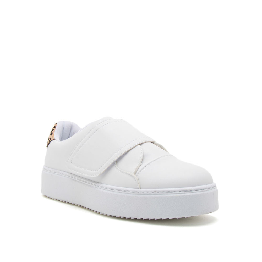 Moody-01 White Strappy Sneakers