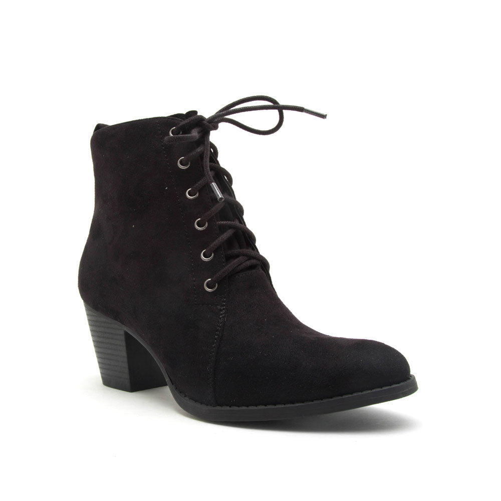 Morrison-27 Black Stretched Lace Up Bootie