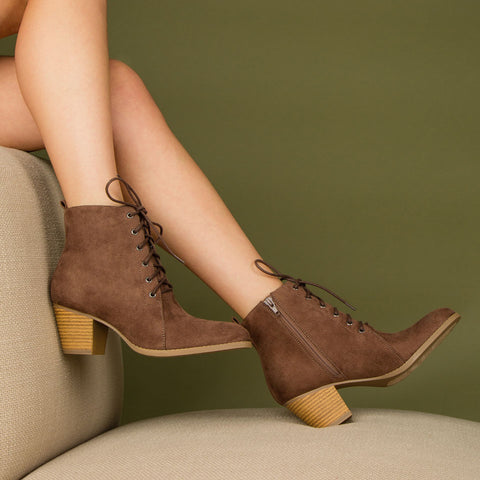 Morrison-27 Nutmeg Stretched Lace Up Bootie