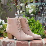 Morrison-27 Warm Taupe Stretched Lace Up Bootie