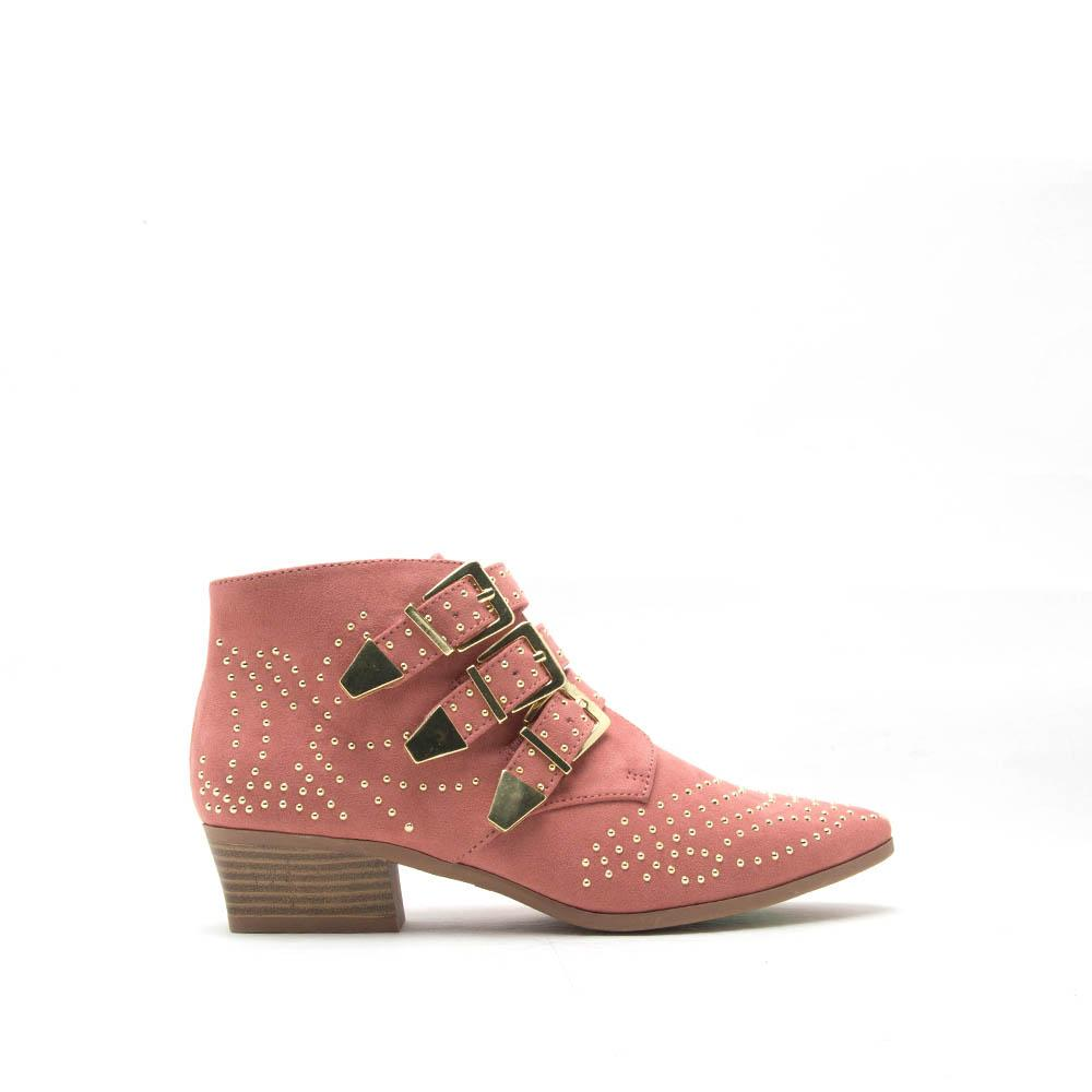 Muni-03 Dusty Rose Studded Bootie