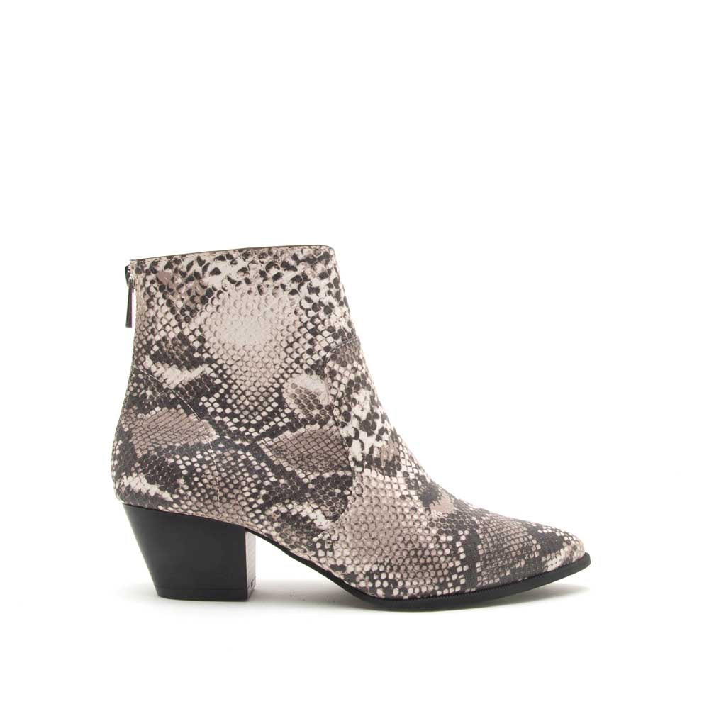 Mystique-01 Beige Brown Snake Bootie