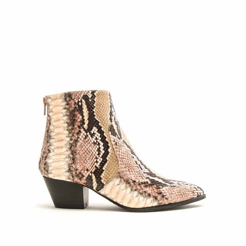 Mystique-01X Blush Taupe Snake Booties