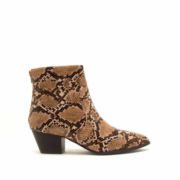 Mystique-01X Brown Tan Snake Booties