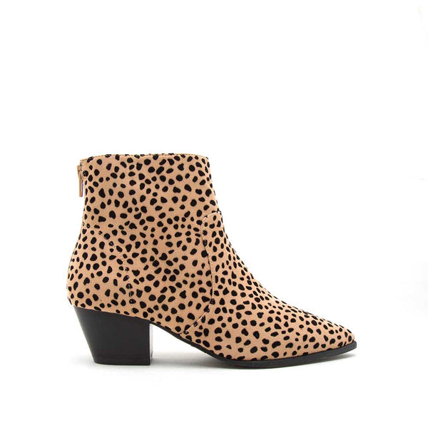 Mystique-01X Tan Black Leopard Booties