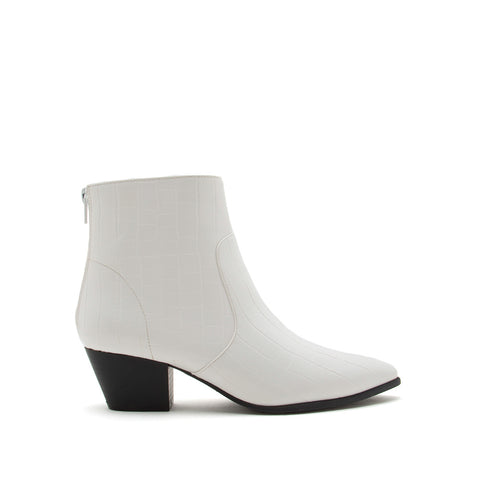 Mystique-01X White Crocodile Booties