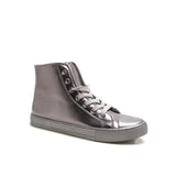 NARNIA-08 Pewter Metallic Monochrome High Top Casual Sneaker