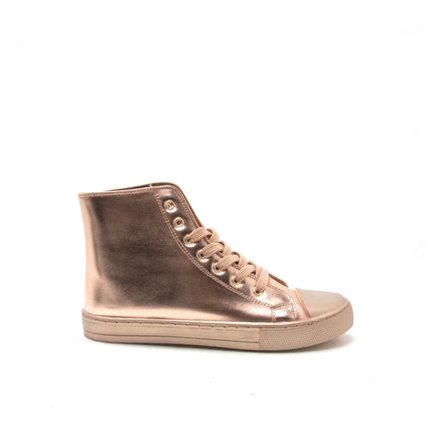 NARNIA-08 Rose Gold Metallic Monochrome High Top Casual Sneaker