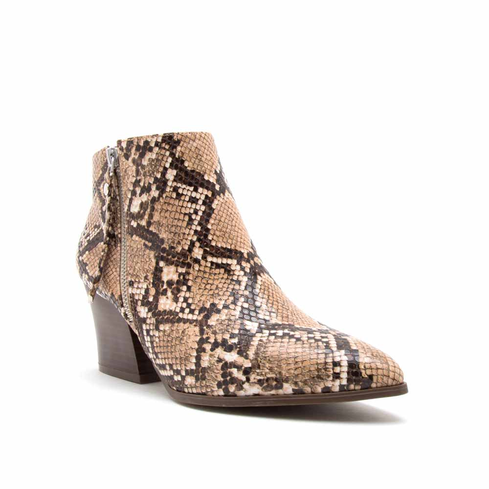 Nava-06X Beige Brown Snake Zipper Booties