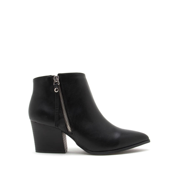 Nava-06X Black Zipper Booties