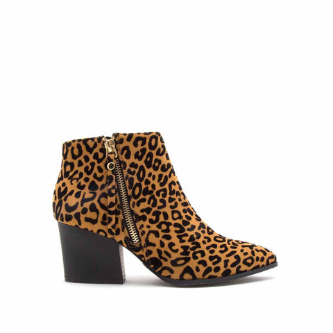 Nava-06X Camel Black Leopard Zipper Booties