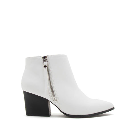 Nava-06X White Zipper Booties