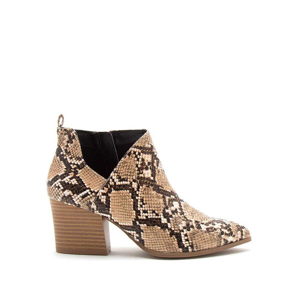 Nava-08 Beige Brown Snake Side Panel Booties
