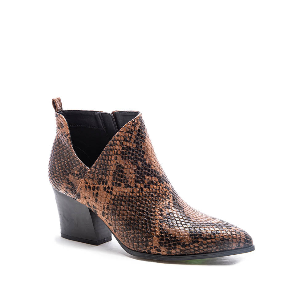 Nava-08 Brown Black Snake Side Panel Booties